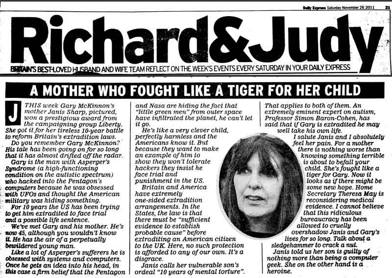 story in the Daily Express about Janis Sharp winning Liberty Human Rights Award 2011 on her fight to change the extradition treaty and save Gary Mckinnon from extradition to america