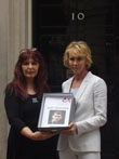 Janis Sharp and Trudie Styler present petition to Sarah Brown at 10 Downing Street
